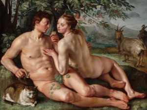 The Fall of Man by Hendrick Goltzius (1558-1617) Painting of Adam and Eve in the Garden of Eden